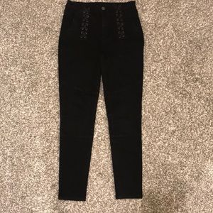 BLANKNYC Black Jeans with leather lace up